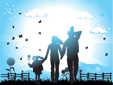 Happy family walks on nature, sunset Vector