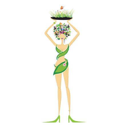 Beautiful floral woman Vector
