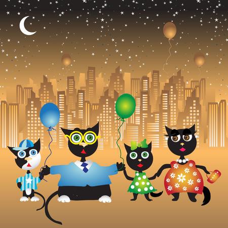 Happy family walk, cats Stock Vector - 3134892