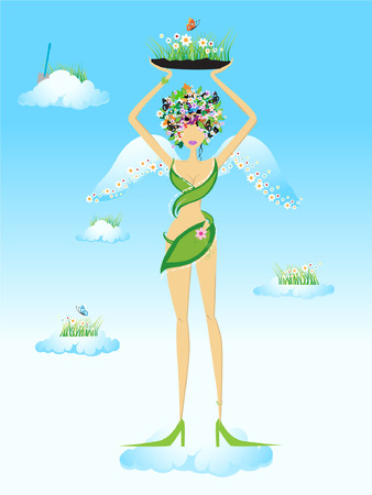 Beautiful fairy on sky Vector