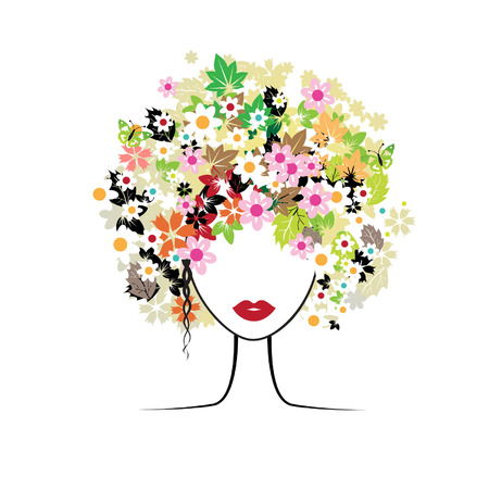Face woman, floral hairstyle Vector