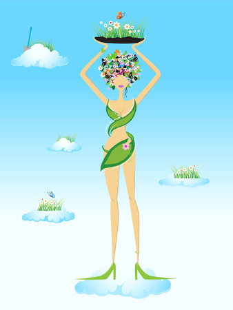 Beautiful fairy on sky Vector