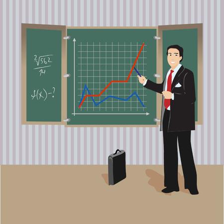 animated adult: Algebra teacher at blackboard Illustration