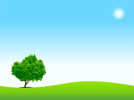 loneliness: Loneliness, tree on meadow Illustration