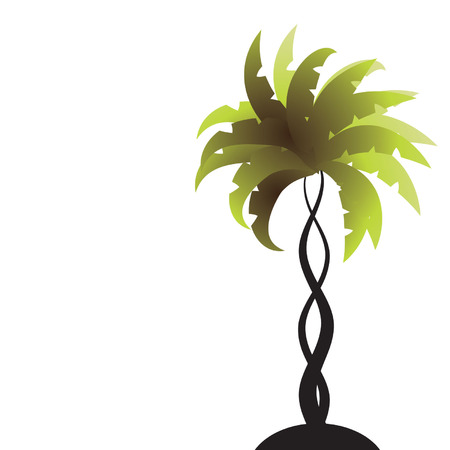palm computer: Art palm tree green Illustration
