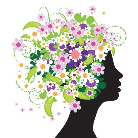 Floral cabeza silueta  Foto de archivo - 3327310