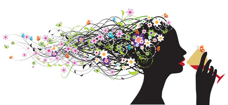 Floral head silhouette, wine Vector