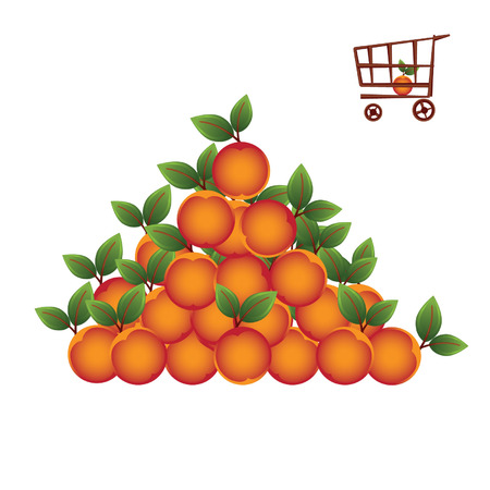 Shopping basket with fruit Vector