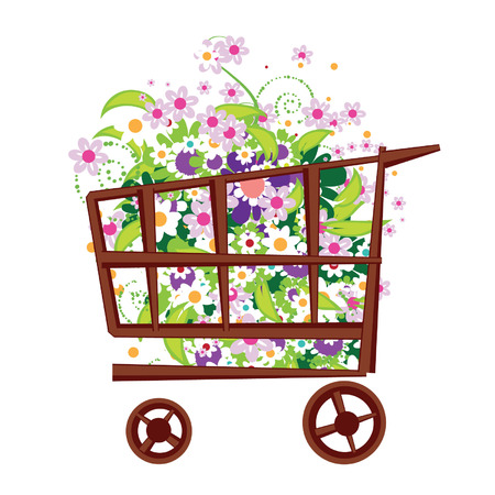 supermarket checkout: Shopping basket with flowers