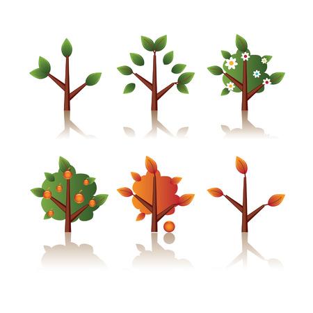 reflection of life: Set of icons tree, seasons Illustration