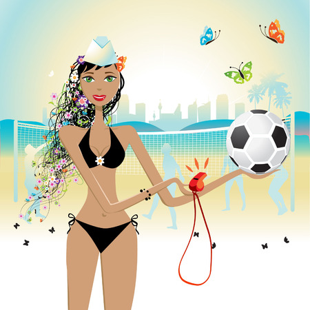 Beautiful girl plays volleyball Vector