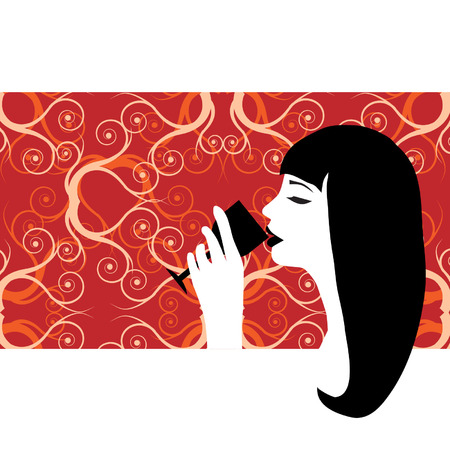 Beautiful woman drinking wine Vector