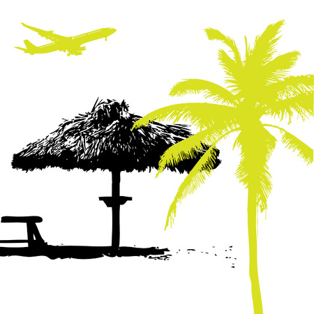 Palm on the beach, summer vacations Vector