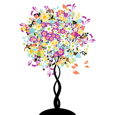 leaves vector: Bautiful floral tree