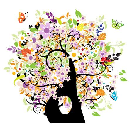 Bautiful floral tree Stock Vector - 3331219
