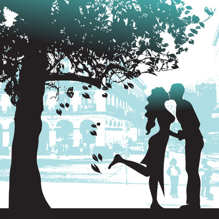 Couple under the tree in city park Illustration