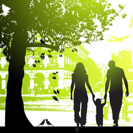 familia parque: Familia pie en el parque municipal  Vectores