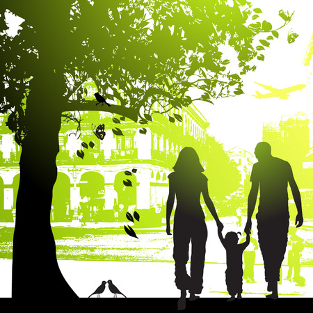 Family walk in the city park Illustration