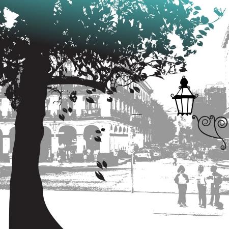 Tree silhouette, street scene Illustration