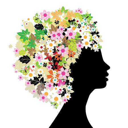 perfil de mujer rostro: Floral cabeza silueta