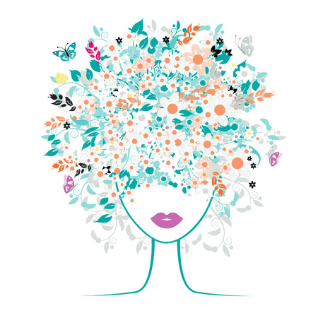 Girl face, floral hairstyle Vector