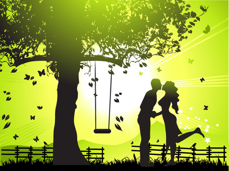 Couple walks on nature, sunset Vector