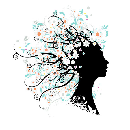 Floral head silhouette Stock Vector - 3349108