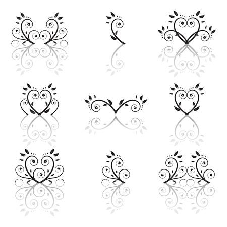 Set of floral ornament Vector