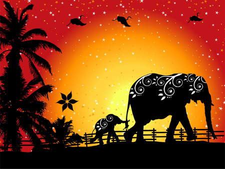 of elephants on nature walk Stock Vector - 3374345