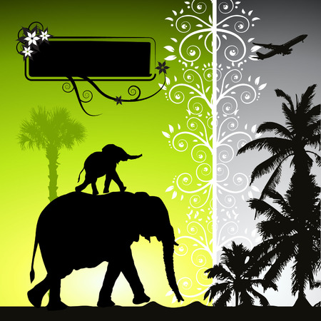 Summer holiday, elephants Vector