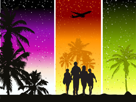 Happy family, summer holiday Vector