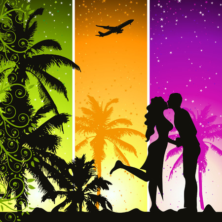 people traveling: Summer holiday Illustration