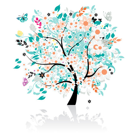 jungle vector: Floral tree beautiful Illustration