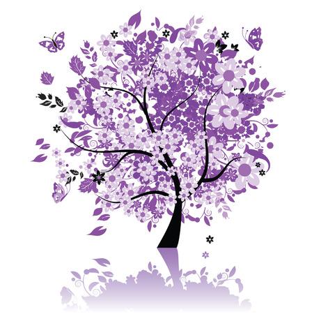 Floral schönen Baum Vektorgrafik