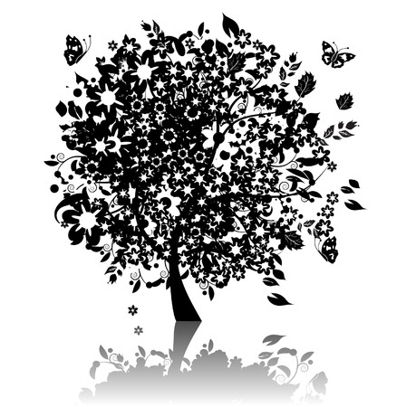 Floral tree silhouette black