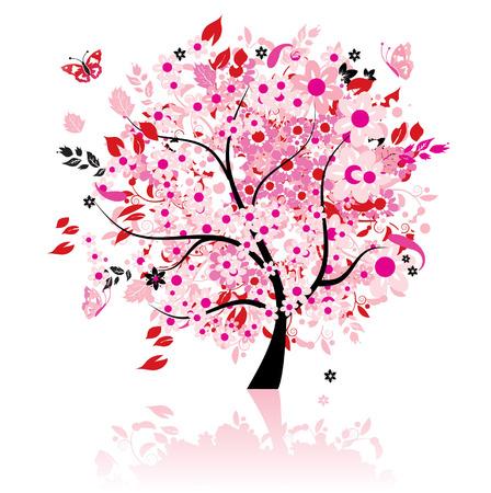 lone tree: Floral tree beautiful Illustration