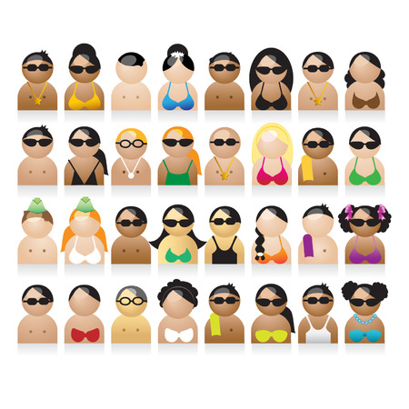 fashion vector: Set of peoples icons, summer vacations
