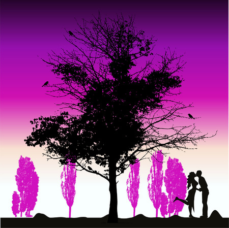 Couple silhouette, big tree old Vector
