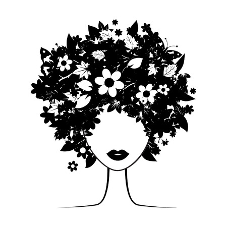 Floral hairstyle Stock Vector - 3581411