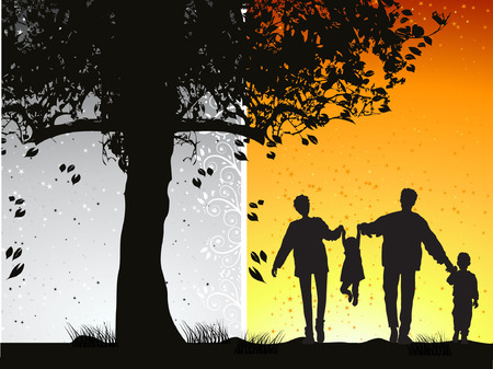 grass family: Happy family walks on nature, sunset Illustration