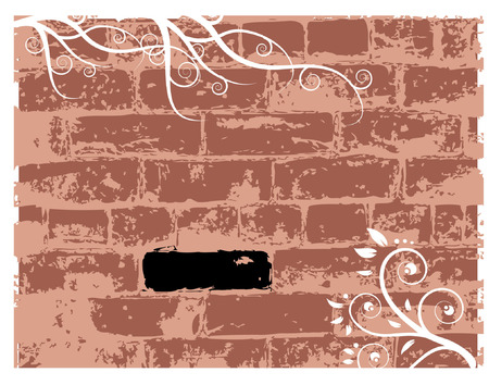 Wall brick, grunge background Vector