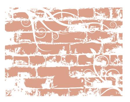 Wall brick, grunge background Vector