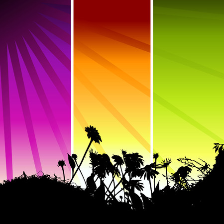 saturated color: Grass silhouette on meadow Illustration