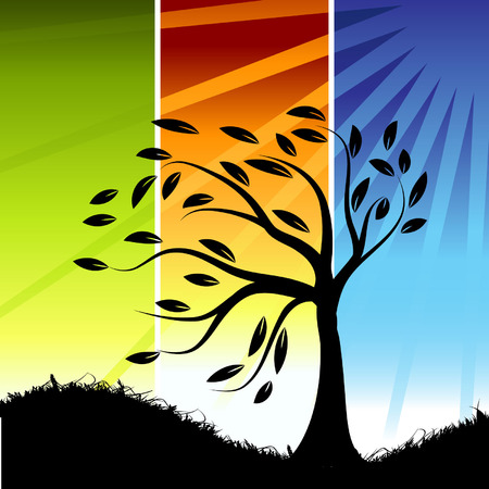 tree line: Tree silhouette, color background