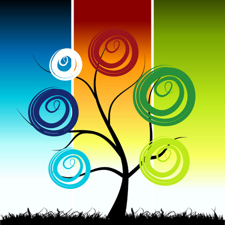 Tree silhouette, color background Stock Vector - 3581386