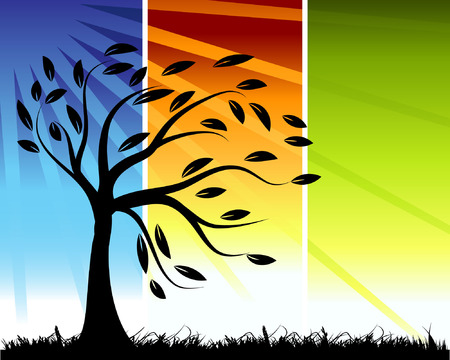 Tree silhouette, color background Vector