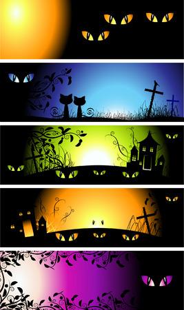 Halloween night banners Vector
