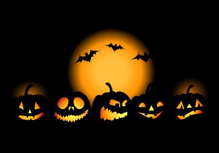 Halloween night background, vector illustration