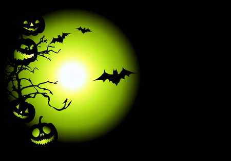 Halloween night background, vector illustration