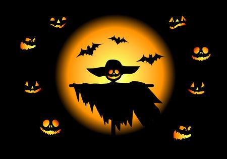 Halloween night background, vector illustration Stock Vector - 3609086
